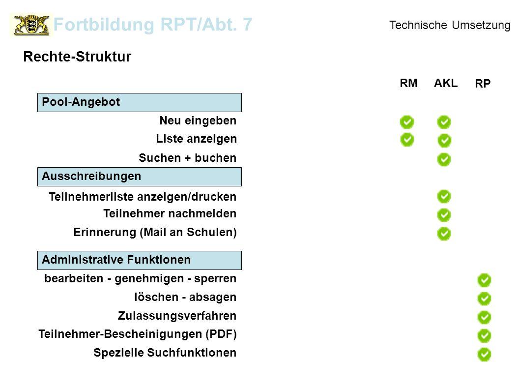 Ausschreibungen Technische Umsetzung Rechte-Struktur Fortbildung RPT/Abt. 7 Administrative Funktionen RMAKL RP Neu eingeben Pool-Angebot Liste anzeige