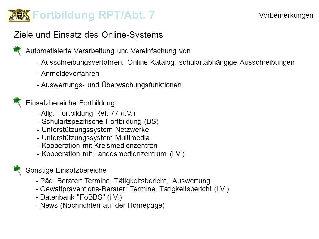 Praxis Fortbildung RPT/Abt.