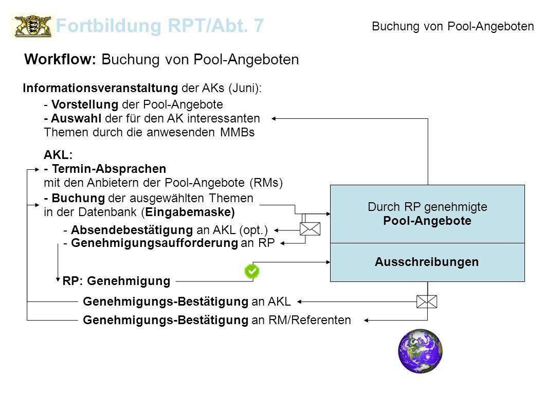 Buchung von Pool-Angeboten Durch RP genehmigte Pool-Angebote Workflow: Buchung von Pool-Angeboten Fortbildung RPT/Abt. 7 AKL: - Termin-Absprachen mit