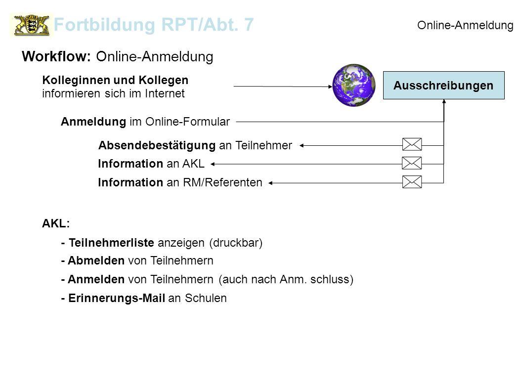 Ausschreibungen Online-Anmeldung Workflow: Online-Anmeldung Fortbildung RPT/Abt. 7 Kolleginnen und Kollegen informieren sich im Internet Anmeldung im
