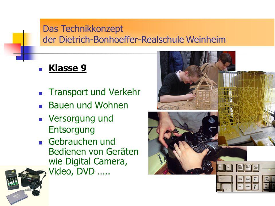 Klasse 9 Transport und Verkehr Bauen und Wohnen Versorgung und Entsorgung Gebrauchen und Bedienen von Geräten wie Digital Camera, Video, DVD ….. Das T