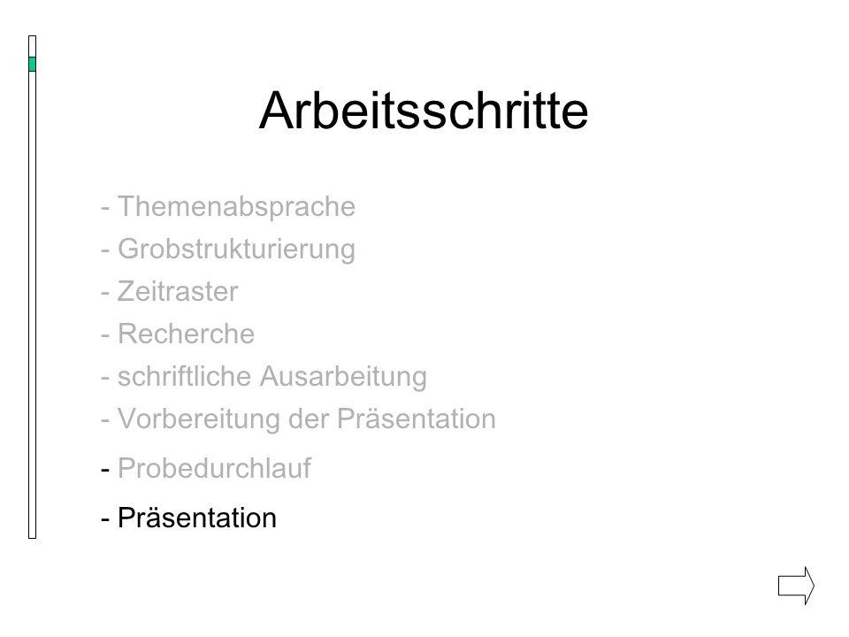Arbeitsschritte - Themenabsprache - Grobstrukturierung - Zeitraster - Recherche - schriftliche Ausarbeitung - Vorbereitung der Präsentation - Probedur