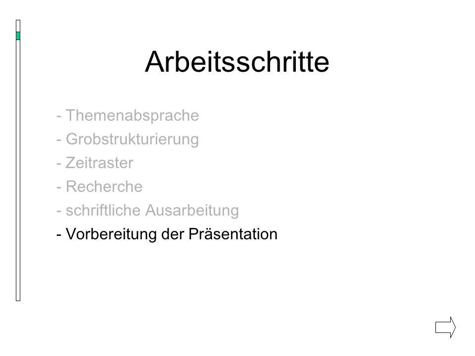 Arbeitsschritte - Themenabsprache - Grobstrukturierung - Zeitraster - Recherche - schriftliche Ausarbeitung - Vorbereitung der Präsentation - Probedurchlauf