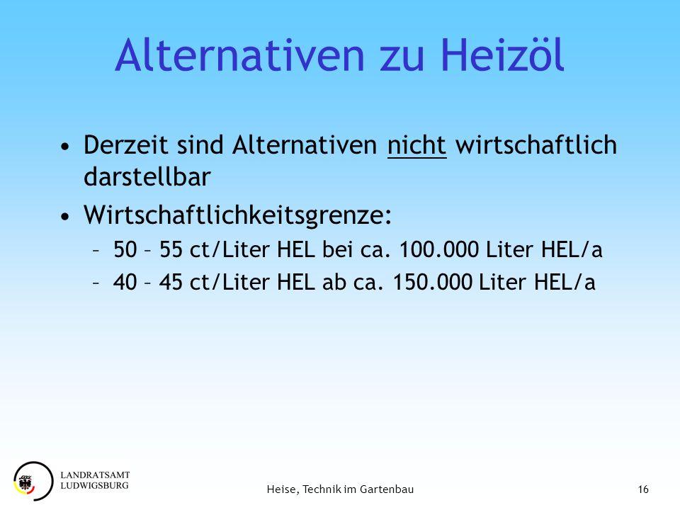 16Heise, Technik im Gartenbau Alternativen zu Heizöl Derzeit sind Alternativen nicht wirtschaftlich darstellbar Wirtschaftlichkeitsgrenze: –50 – 55 ct