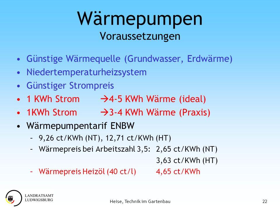 22Heise, Technik im Gartenbau Wärmepumpen Voraussetzungen Günstige Wärmequelle (Grundwasser, Erdwärme) Niedertemperaturheizsystem Günstiger Strompreis