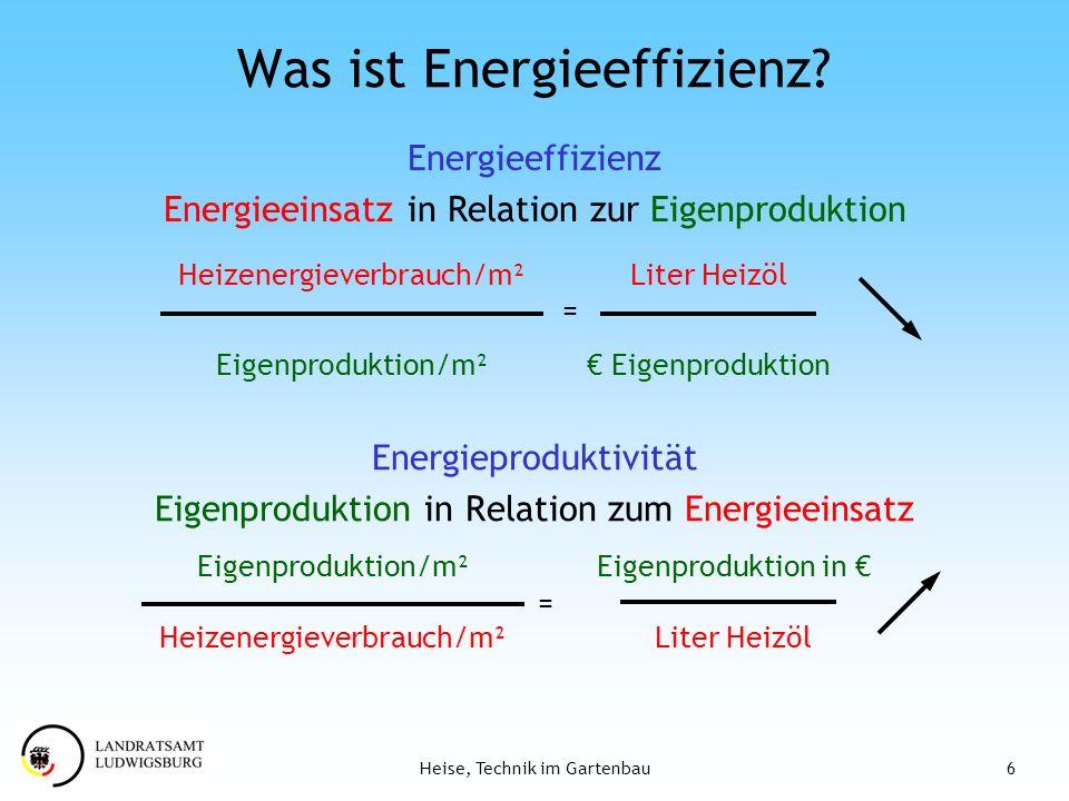 6Heise, Technik im Gartenbau Was ist Energieeffizienz? Energieproduktivität Eigenproduktion in Relation zum Energieeinsatz Energieeffizienz Energieein