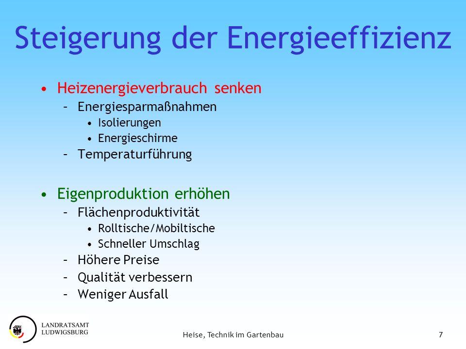 7Heise, Technik im Gartenbau Steigerung der Energieeffizienz Heizenergieverbrauch senken –Energiesparmaßnahmen Isolierungen Energieschirme –Temperatur