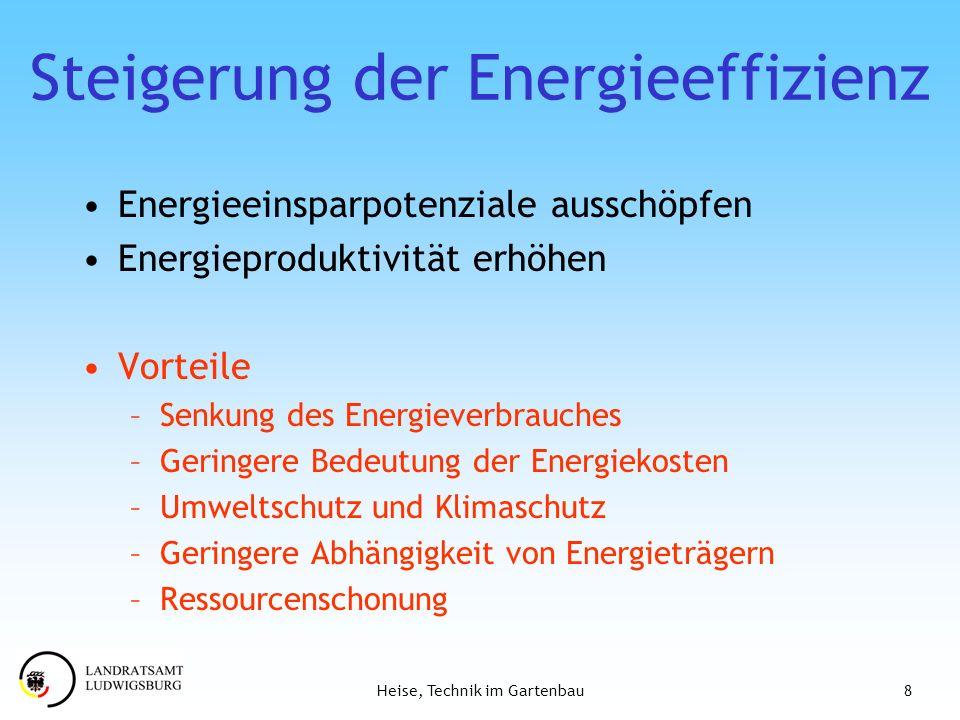 8Heise, Technik im Gartenbau Steigerung der Energieeffizienz Energieeinsparpotenziale ausschöpfen Energieproduktivität erhöhen Vorteile –Senkung des E