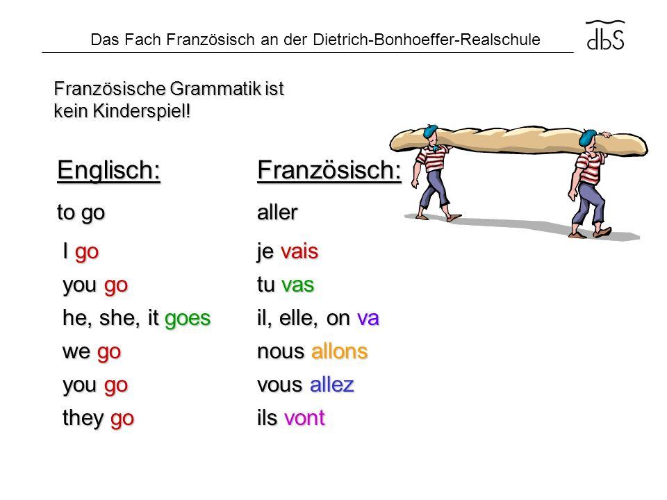 Das Fach Französisch an der Dietrich-Bonhoeffer-Realschule Französische Grammatik ist kein Kinderspiel! I go you go he, she, it goes we go you go they