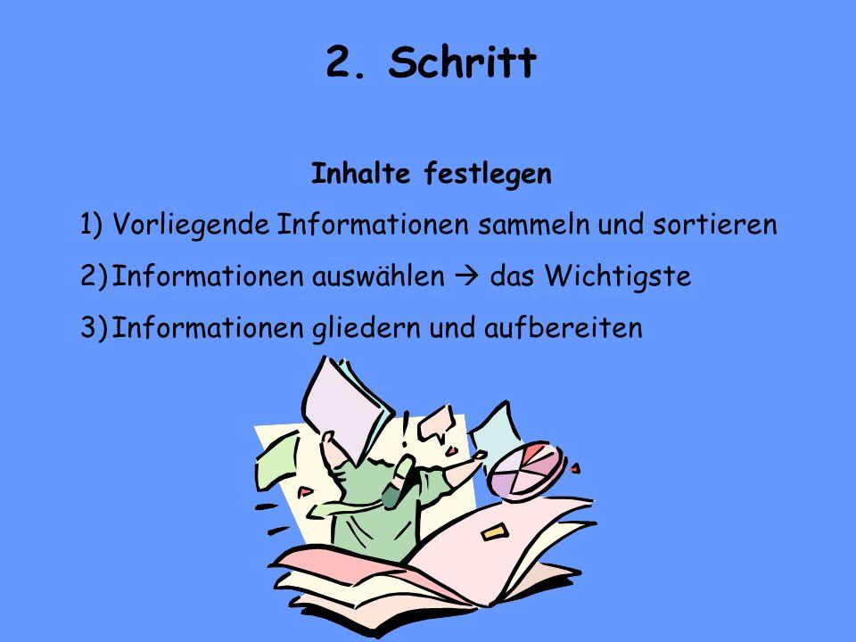 2. Schritt Inhalte festlegen 1)Vorliegende Informationen sammeln und sortieren 2)Informationen auswählen das Wichtigste 3)Informationen gliedern und a