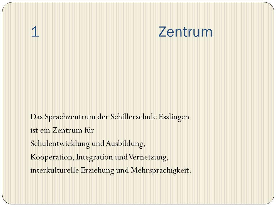 1 Zentrum Das Sprachzentrum der Schillerschule Esslingen ist ein Zentrum für Schulentwicklung und Ausbildung, Kooperation, Integration und Vernetzung,