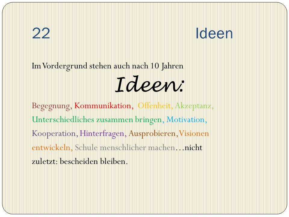 22 Ideen Im Vordergrund stehen auch nach 10 Jahren Ideen: Begegnung, Kommunikation, Offenheit, Akzeptanz, Unterschiedliches zusammen bringen, Motivati