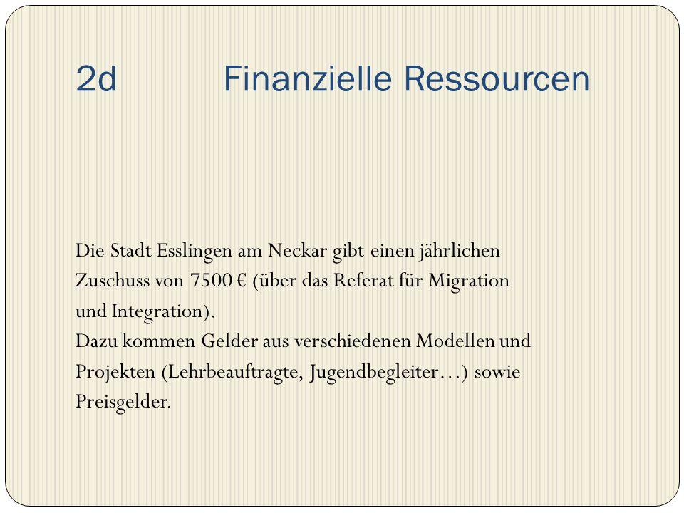 2d Finanzielle Ressourcen Die Stadt Esslingen am Neckar gibt einen jährlichen Zuschuss von 7500 (über das Referat für Migration und Integration). Dazu