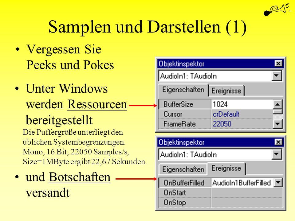 Samplen und Darstellen (1) Vergessen Sie Peeks und Pokes Unter Windows werden Ressourcen bereitgestellt und Botschaften versandt Die Puffergröße unter