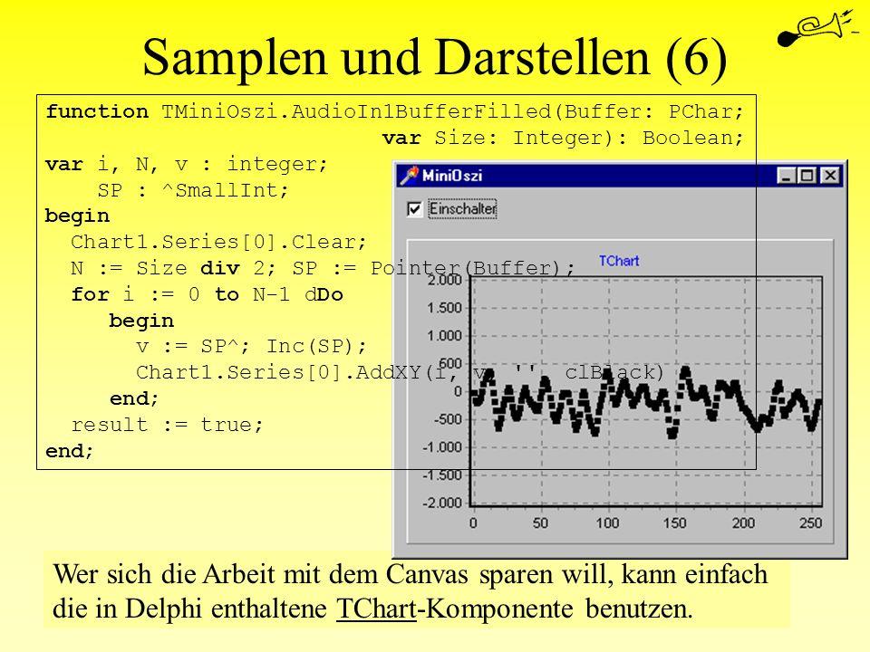 Wer sich die Arbeit mit dem Canvas sparen will, kann einfach die in Delphi enthaltene TChart-Komponente benutzen. Samplen und Darstellen (6) function