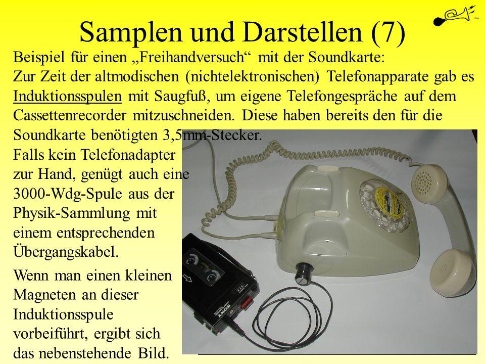 Samplen und Darstellen (7) Wenn man einen kleinen Magneten an dieser Induktionsspule vorbeiführt, ergibt sich das nebenstehende Bild. Falls kein Telef