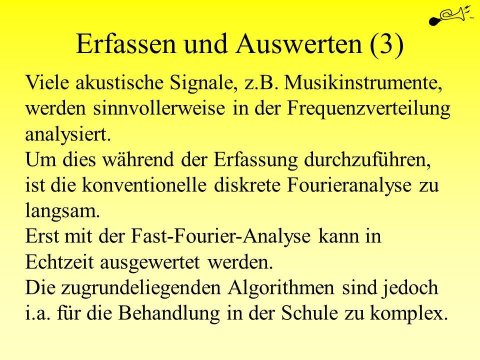 Erfassen und Auswerten (3) Viele akustische Signale, z.B. Musikinstrumente, werden sinnvollerweise in der Frequenzverteilung analysiert. Um dies währe