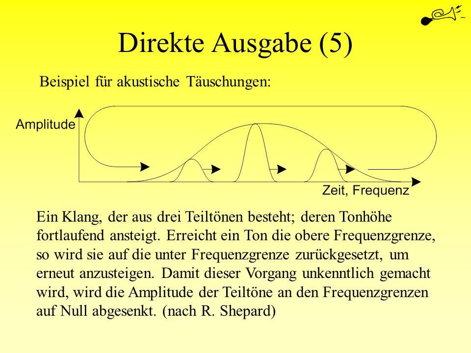 Direkte Ausgabe (5) Beispiel für akustische Täuschungen: Ein Klang, der aus drei Teiltönen besteht; deren Tonhöhe fortlaufend ansteigt. Erreicht ein T