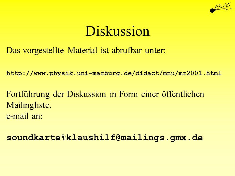 Diskussion Das vorgestellte Material ist abrufbar unter: http://www.physik.uni-marburg.de/didact/mnu/mr2001.html Fortführung der Diskussion in Form ei