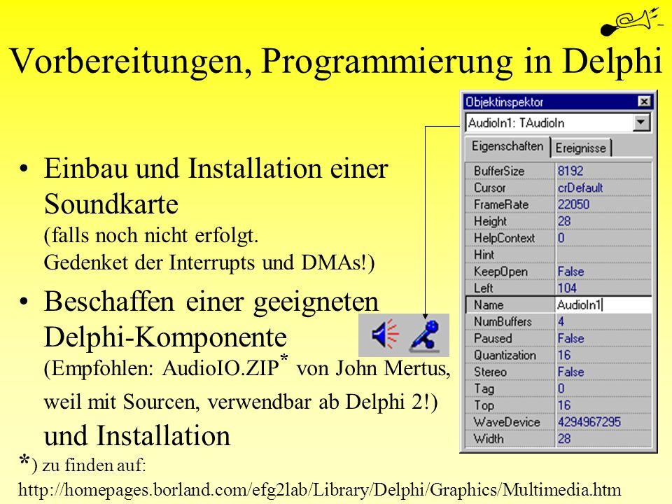 Vorbereitungen, Programmierung in Delphi Einbau und Installation einer Soundkarte (falls noch nicht erfolgt. Gedenket der Interrupts und DMAs!) Bescha