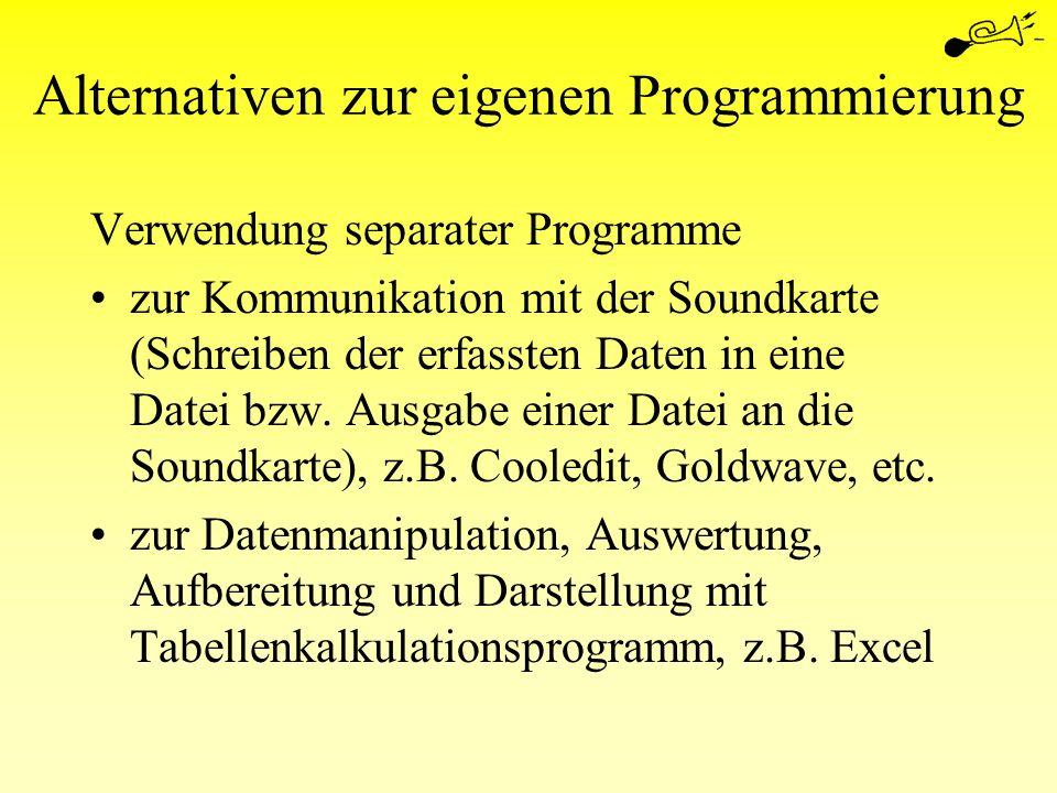 Alternativen zur eigenen Programmierung Verwendung separater Programme zur Kommunikation mit der Soundkarte (Schreiben der erfassten Daten in eine Dat