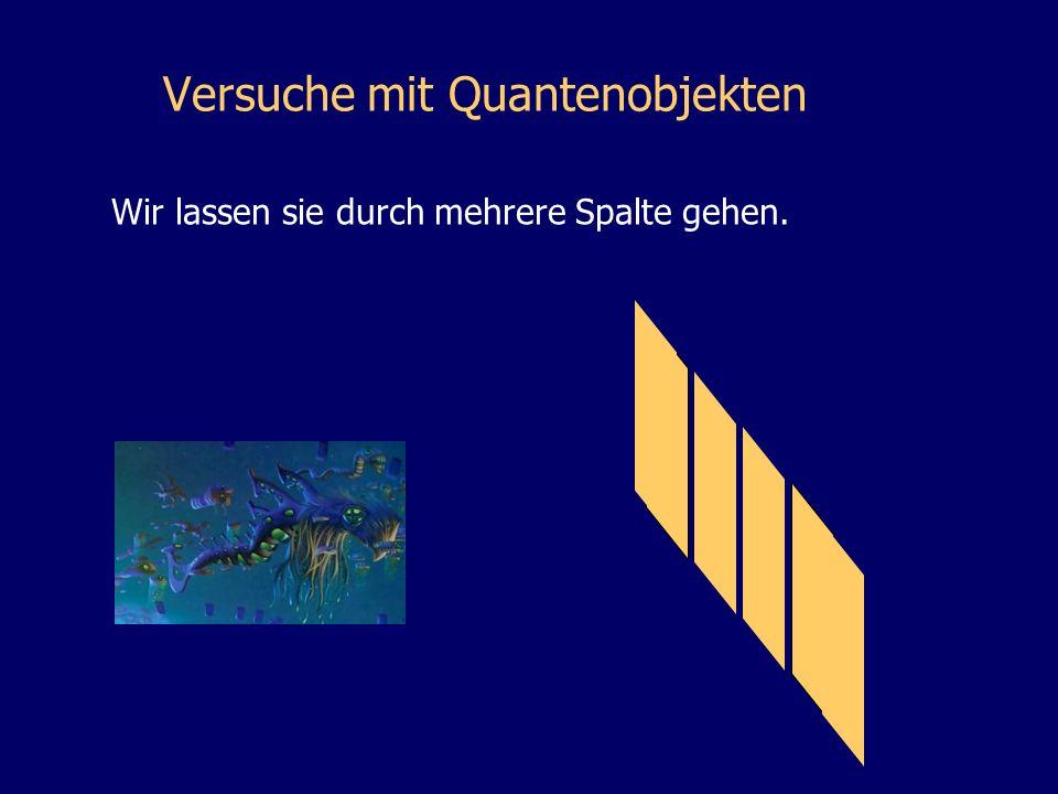 Versuche mit Quantenobjekten Wir lassen sie durch mehrere Spalte gehen.