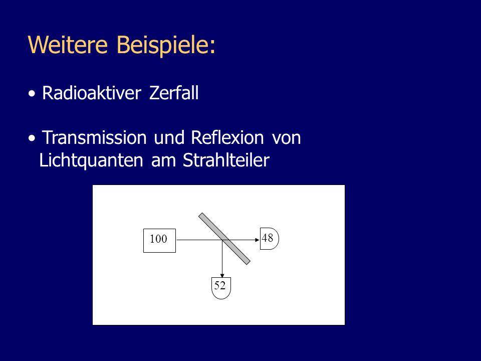 Weitere Beispiele: Radioaktiver Zerfall Transmission und Reflexion von Lichtquanten am Strahlteiler Lichtquanten am Polarisationsfilter φ Transmission: cos 2 ( ) Absorption: sin 2 ( )