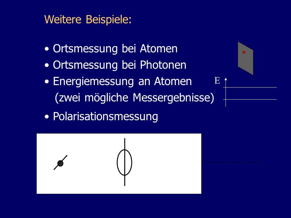 Ortsmessung bei Atomen Ortsmessung bei Photonen Energiemessung an Atomen (zwei mögliche Messergebnisse) Weitere Beispiele: Polarisationsmessung E