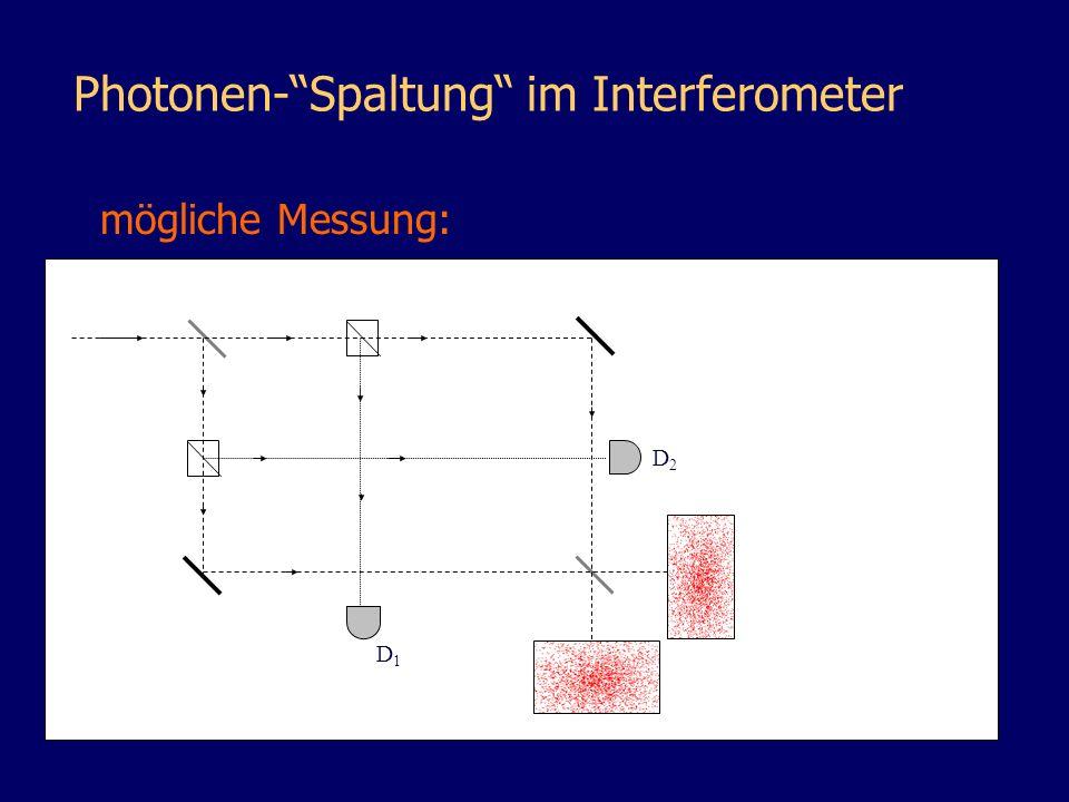 nichtlinearer Kristall Photonen-Spaltung im Interferometer D1D1 D2D2 mögliche Messung:
