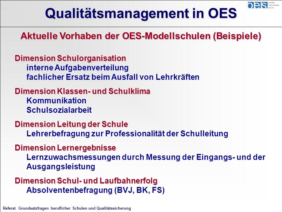 Referat Grundsatzfragen beruflicher Schulen und Qualitätssicherung Aktuelle Vorhaben der OES-Modellschulen (Beispiele) Dimension Schulorganisation Dim
