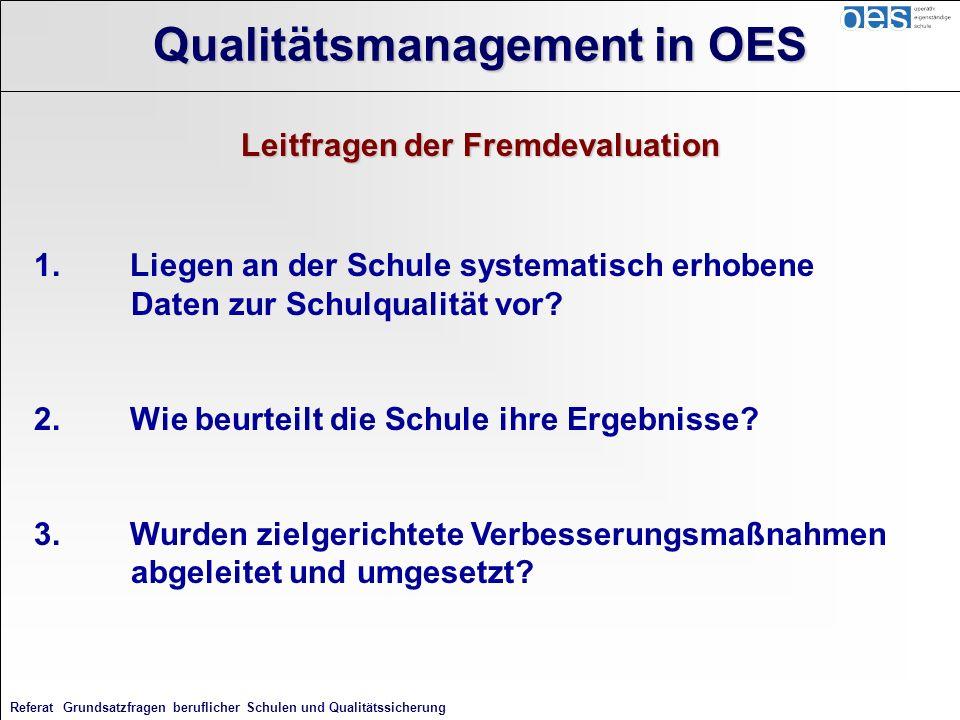 Referat Grundsatzfragen beruflicher Schulen und Qualitätssicherung Qualitätsmanagement in OES Leitfragen der Fremdevaluation 1.Liegen an der Schule sy