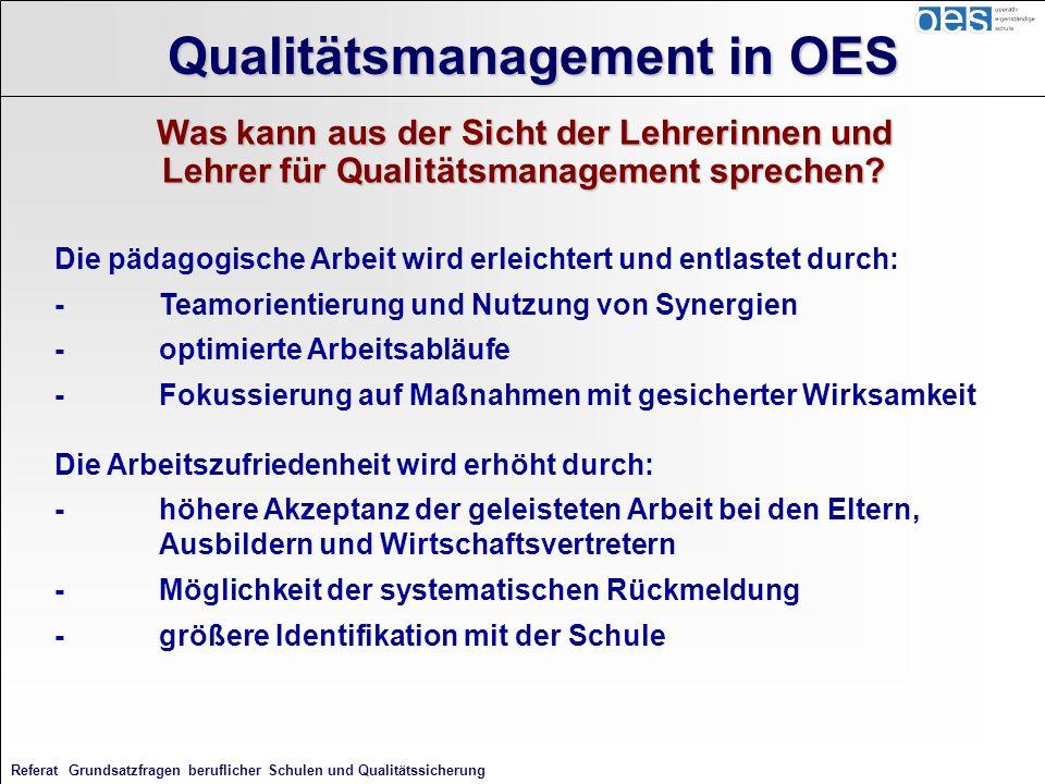 Referat Grundsatzfragen beruflicher Schulen und Qualitätssicherung Qualitätsmanagement in OES Was kann aus der Sicht der Lehrerinnen und Lehrer für Qu