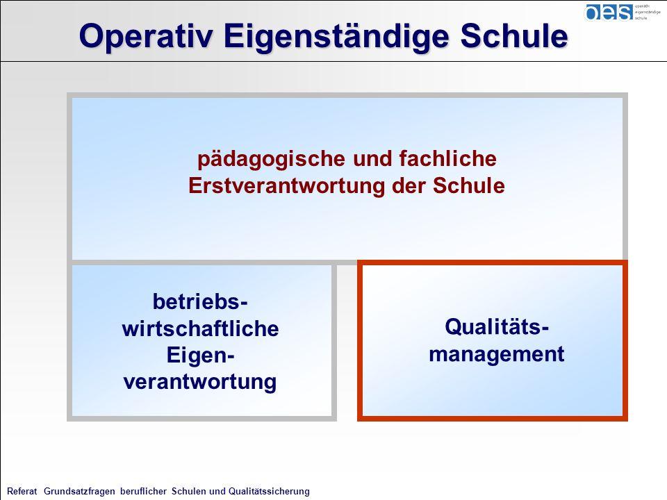 Referat Grundsatzfragen beruflicher Schulen und Qualitätssicherung pädagogische und fachliche Erstverantwortung der Schule Operativ Eigenständige Schu
