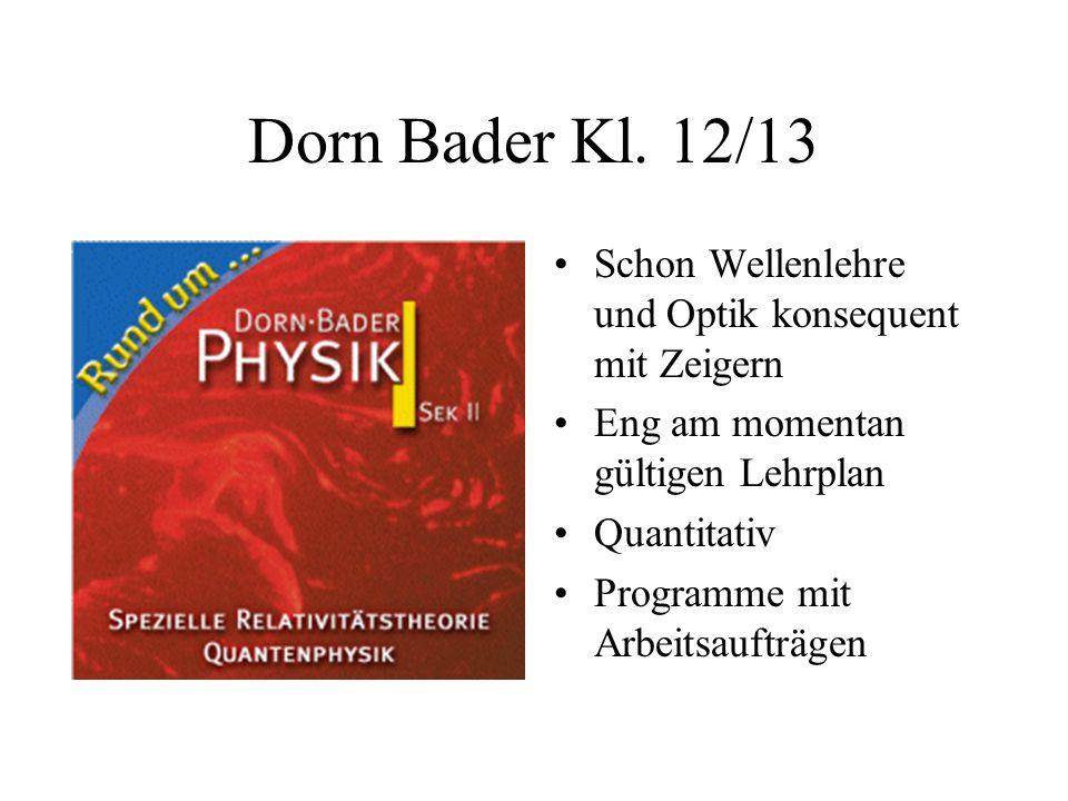 Dorn Bader Kl. 12/13 Schon Wellenlehre und Optik konsequent mit Zeigern Eng am momentan gültigen Lehrplan Quantitativ Programme mit Arbeitsaufträgen