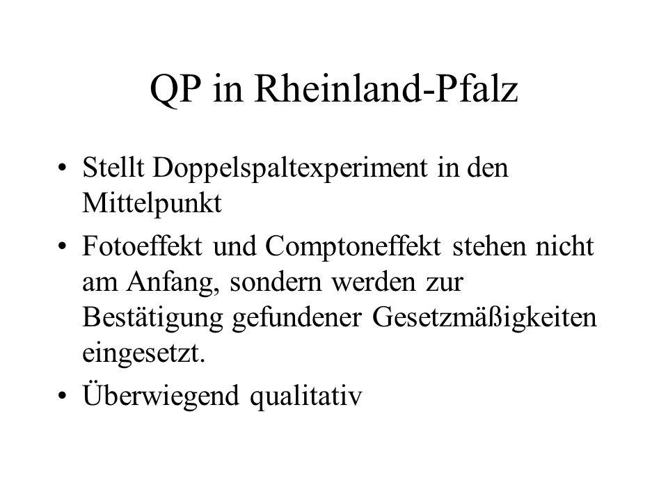 QP in Rheinland-Pfalz Stellt Doppelspaltexperiment in den Mittelpunkt Fotoeffekt und Comptoneffekt stehen nicht am Anfang, sondern werden zur Bestätig