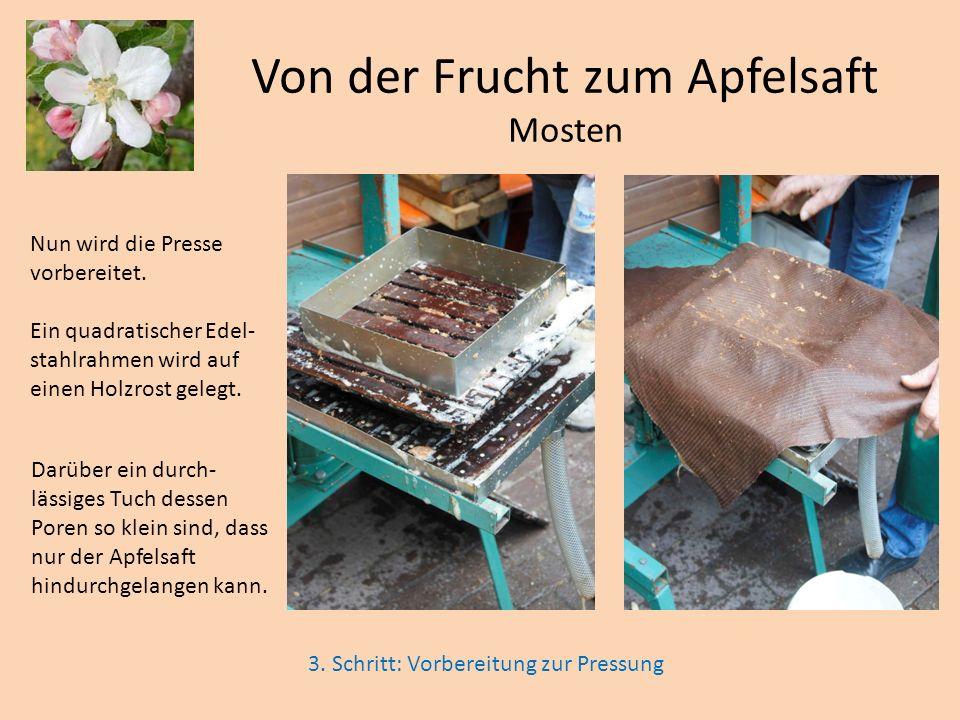 Von der Frucht zum Apfelsaft Mosten Nun wird die Presse vorbereitet. Ein quadratischer Edel- stahlrahmen wird auf einen Holzrost gelegt. Darüber ein d