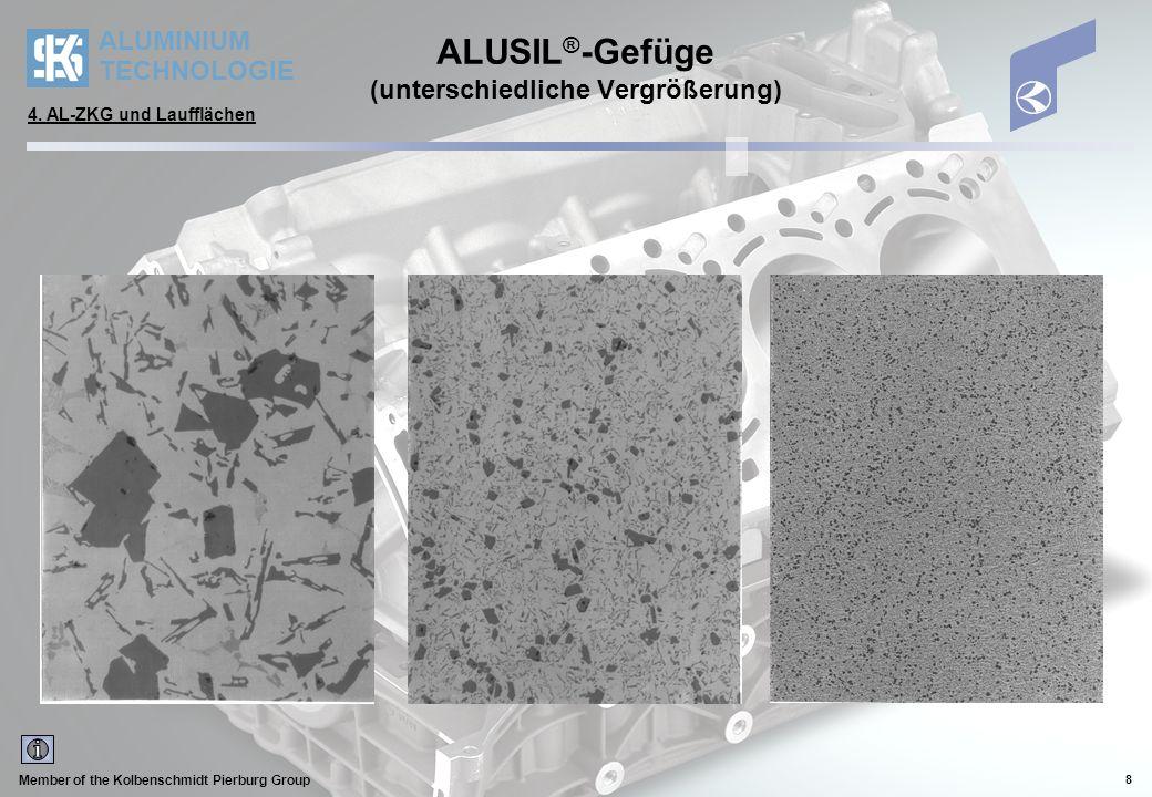 ALUMINIUM TECHNOLOGIE Member of the Kolbenschmidt Pierburg Group 8 ALUSIL ® -Gefüge (unterschiedliche Vergrößerung) 4. AL-ZKG und Laufflächen