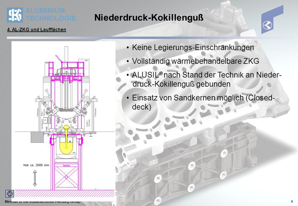 ALUMINIUM TECHNOLOGIE Member of the Kolbenschmidt Pierburg Group 10 Bewertung Aluminium- Gießverfahren Druckguß (0/-) kostengünstiges Massenfer- tigungsverfahren (R3-/R4-Mot.) dünnwandig, Versteifung durch aufwendige Rippenstrukturen sehr schnelle Erstarrung (Skin-Effekt) aber Beschränkung auf Open-deck- Bauweise 1) prinzipbedingte Gasporosität: bedingt stabilisierbar keine Festigkeitssteigerung größerer Langzeit-Zylinder- verzug 1) Einsatz druckgußfester Kerne absolute Ausnahme Sandguß (+) weitgehende Konstruktions- freiheit einfachere Integration zusätz- licher Funktionsmerkmale Vermeidung von Materialan- häufungen aber viele komplex gestaltete Sandkerne: Toleranzproblematik Kosten / Investitionen begrenzte Möglichkeiten der Beeinflussung der Erstarrung Feinkörnigkeit (kleinerer DAS) erfordert eingeformte Kühleisen Umwälzung großer Sand- mengen (Recycling) Kokillenguß (+) wirtschaftlich bei Minimum an Sandkernen (idealerweise nur WaMa/Closed-deck) aktive Beeinflussung der Er- starrung: gezielte Kühlung Niederdruck-Kokillenguß gerichtete Erstarrung geringe Porosität (beschich- tungsfähig) aber längere Erstarrungszeit weniger Rippen, gröber, mas- siver, diagonal/vertikal keine optimalen DAS-Werte bei Anschnitt im Lagerstuhl- bereich (Alternative: Seiten- anschnitt) 4.