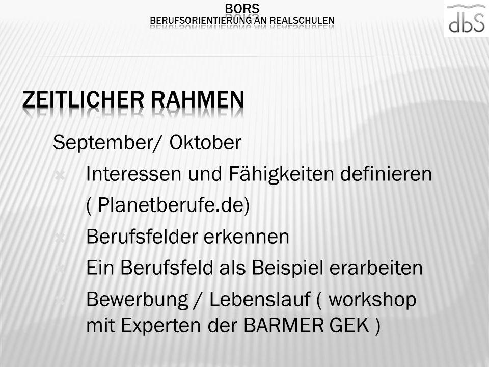 September/ Oktober Interessen und Fähigkeiten definieren ( Planetberufe.de) Berufsfelder erkennen Ein Berufsfeld als Beispiel erarbeiten Bewerbung / L