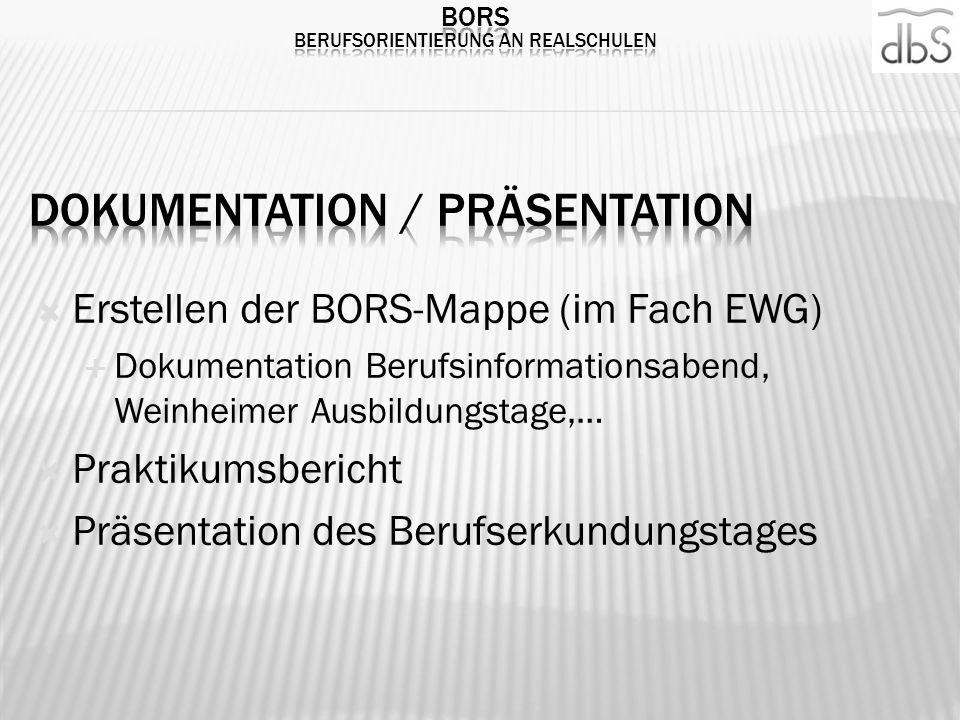 Erstellen der BORS-Mappe (im Fach EWG) Dokumentation Berufsinformationsabend, Weinheimer Ausbildungstage,… Praktikumsbericht Präsentation des Berufser