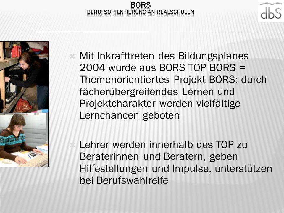 Mit Inkrafttreten des Bildungsplanes 2004 wurde aus BORS TOP BORS = Themenorientiertes Projekt BORS: durch fächerübergreifendes Lernen und Projektchar
