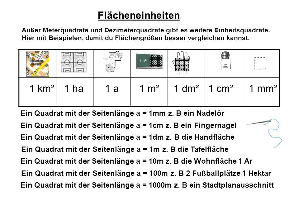 Flächeneinheiten Außer Meterquadrate und Dezimeterquadrate gibt es weitere Einheitsquadrate.