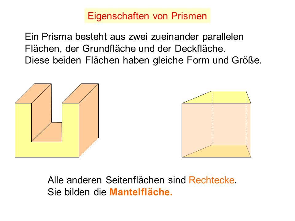 Die Verschiedenartigkeit gerader Prismen ist von der Form ihrer Grundfläche abhängig.
