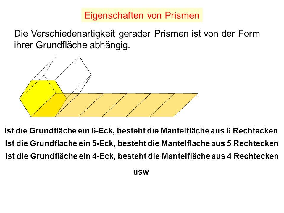 Die Summe aller Begrenzungsflächen bilden die Oberfläche M a n t e l f l ä c h e Die Oberfläche von Prismen Grundfläche Deckfläche
