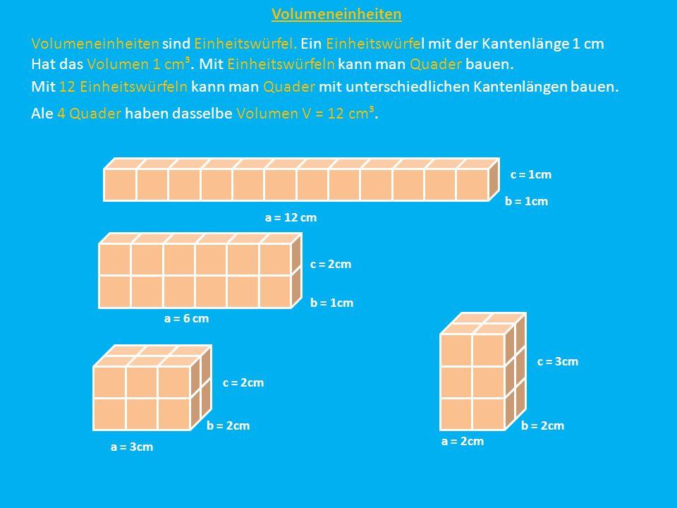 Volumeneinheiten Volumeneinheiten sind Einheitswürfel. Ein Einheitswürfel mit der Kantenlänge 1 cm Hat das Volumen 1 cm³. Mit Einheitswürfeln kann man