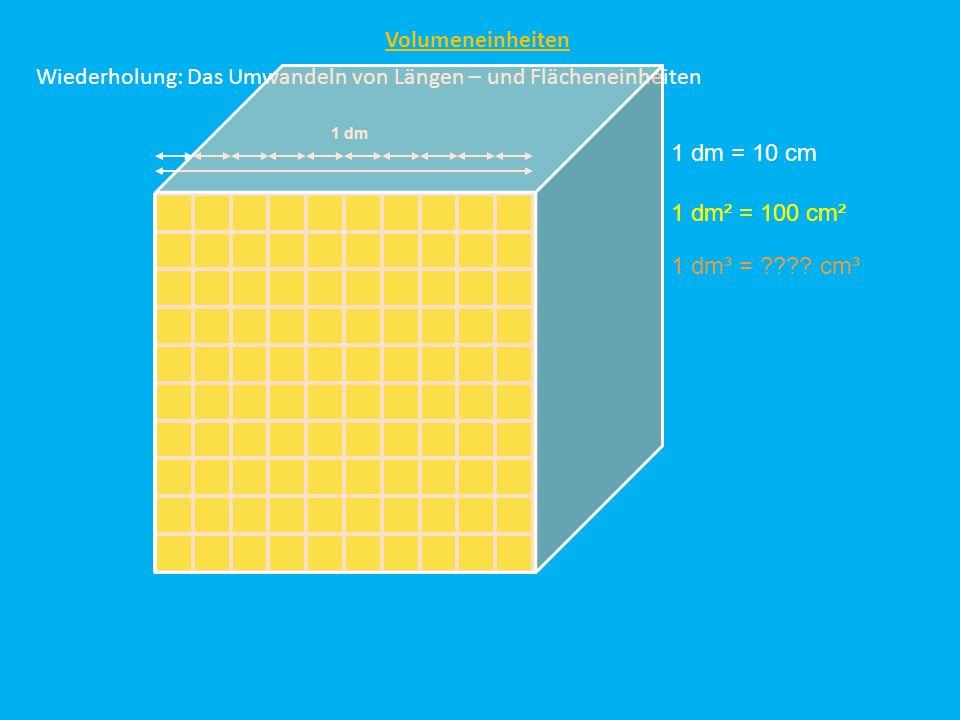 Wiederholung: Das Umwandeln von Längen – und Flächeneinheiten Volumeneinheiten 1 dm = 10 cm 1 dm 1 dm² = 100 cm² 1 dm³ = ???? cm³