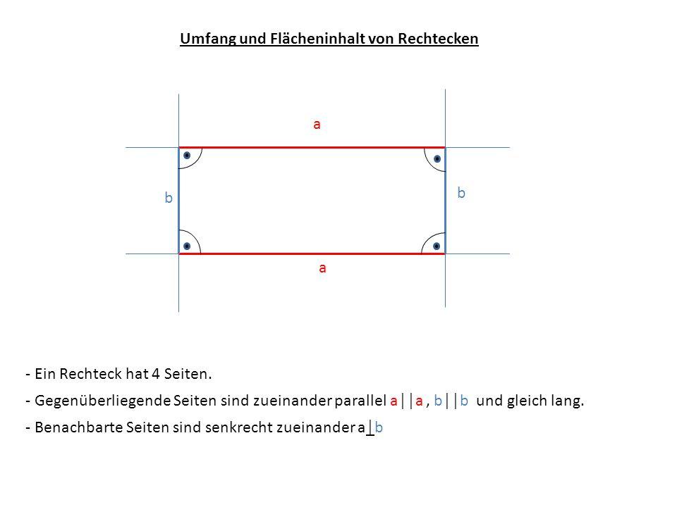 Umfang und Flächeninhalt von Rechtecken - Ein Rechteck hat 4 Seiten. - Benachbarte Seiten sind senkrecht zueinander ab - Gegenüberliegende Seiten sind