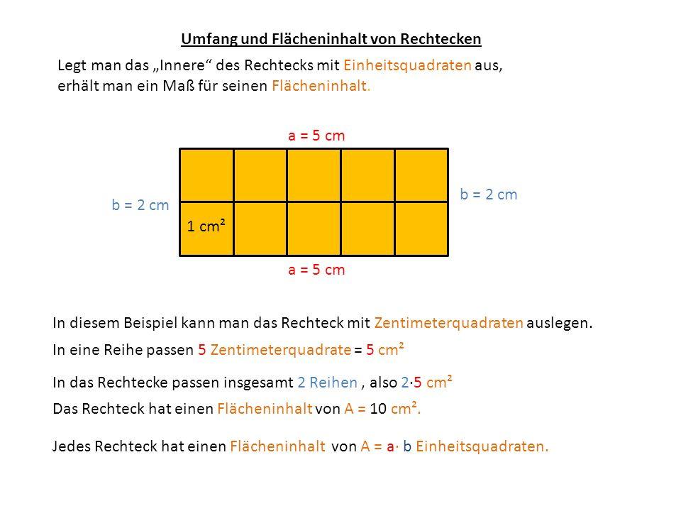 Umfang und Flächeninhalt von Rechtecken a = 5 cm b = 2 cm Legt man das Innere des Rechtecks mit Einheitsquadraten aus, erhält man ein Maß für seinen F