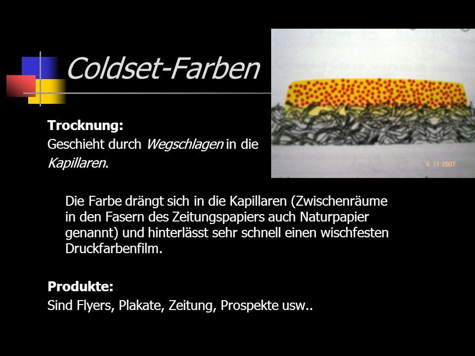Coldset-Farben Trocknung: Geschieht durch Wegschlagen in die Kapillaren. Die Farbe drängt sich in die Kapillaren (Zwischenräume in den Fasern des Zeit