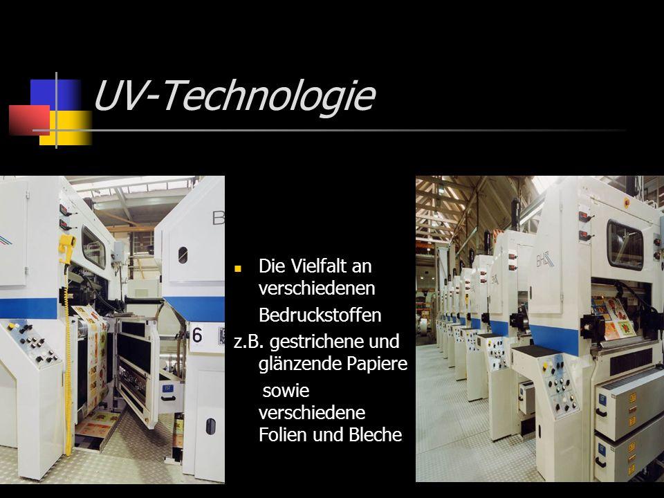 UV-Technologie Die Vielfalt an verschiedenen Bedruckstoffen z.B. gestrichene und glänzende Papiere sowie verschiedene Folien und Bleche